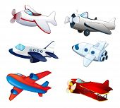 stock photo of aeroplane  - illustration of various aeroplanes on a white background - JPG