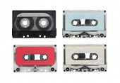 Vintage blank audio cassettes with clipping path.