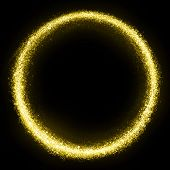 stock photo of glitz  - Gold glittering star dust circle - JPG