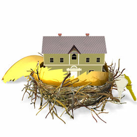 picture of nest-egg  - large golden hatched egg sitting in a nest with a brand new house and set of keys - JPG