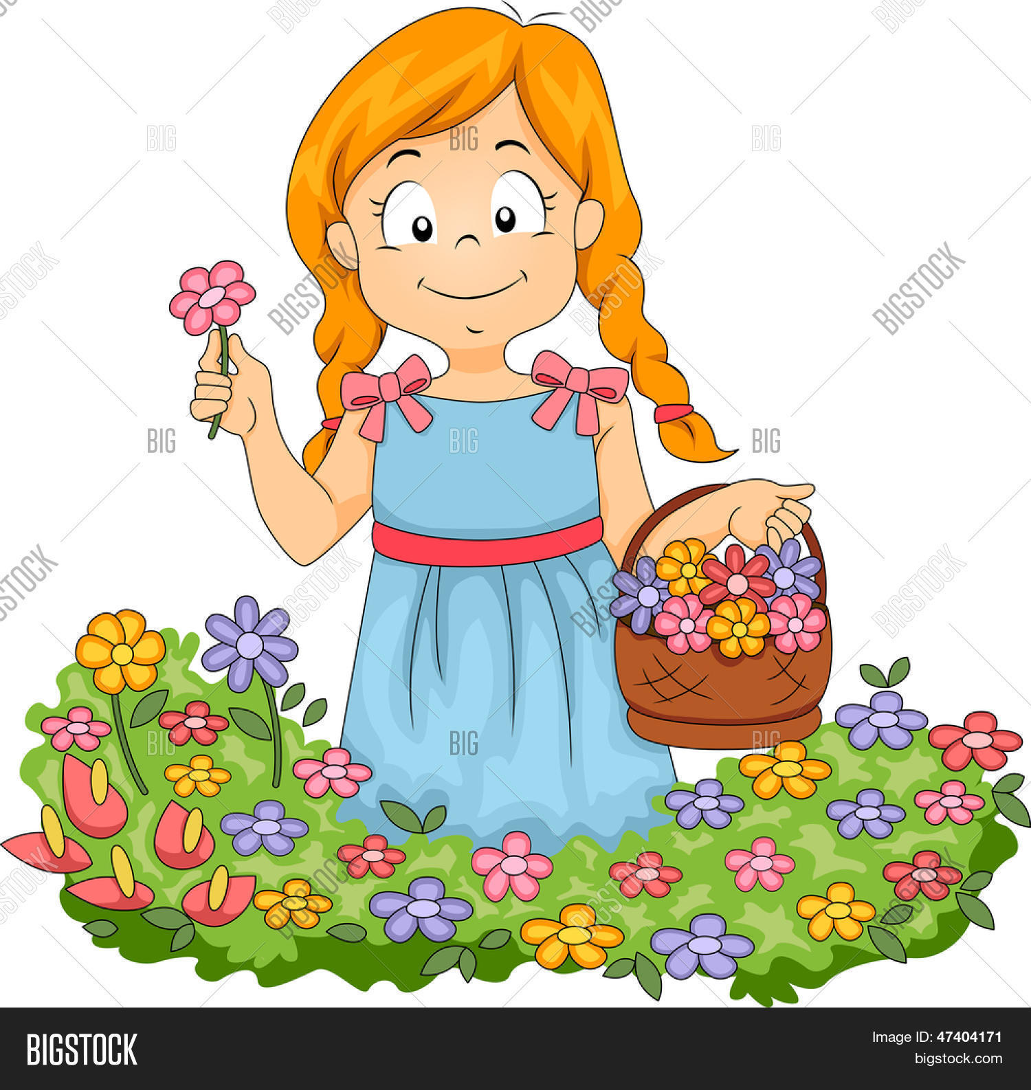 banco de jardim vetor: de flores, colhendo flores em um jardim Bancos de Vetores & Bancos de