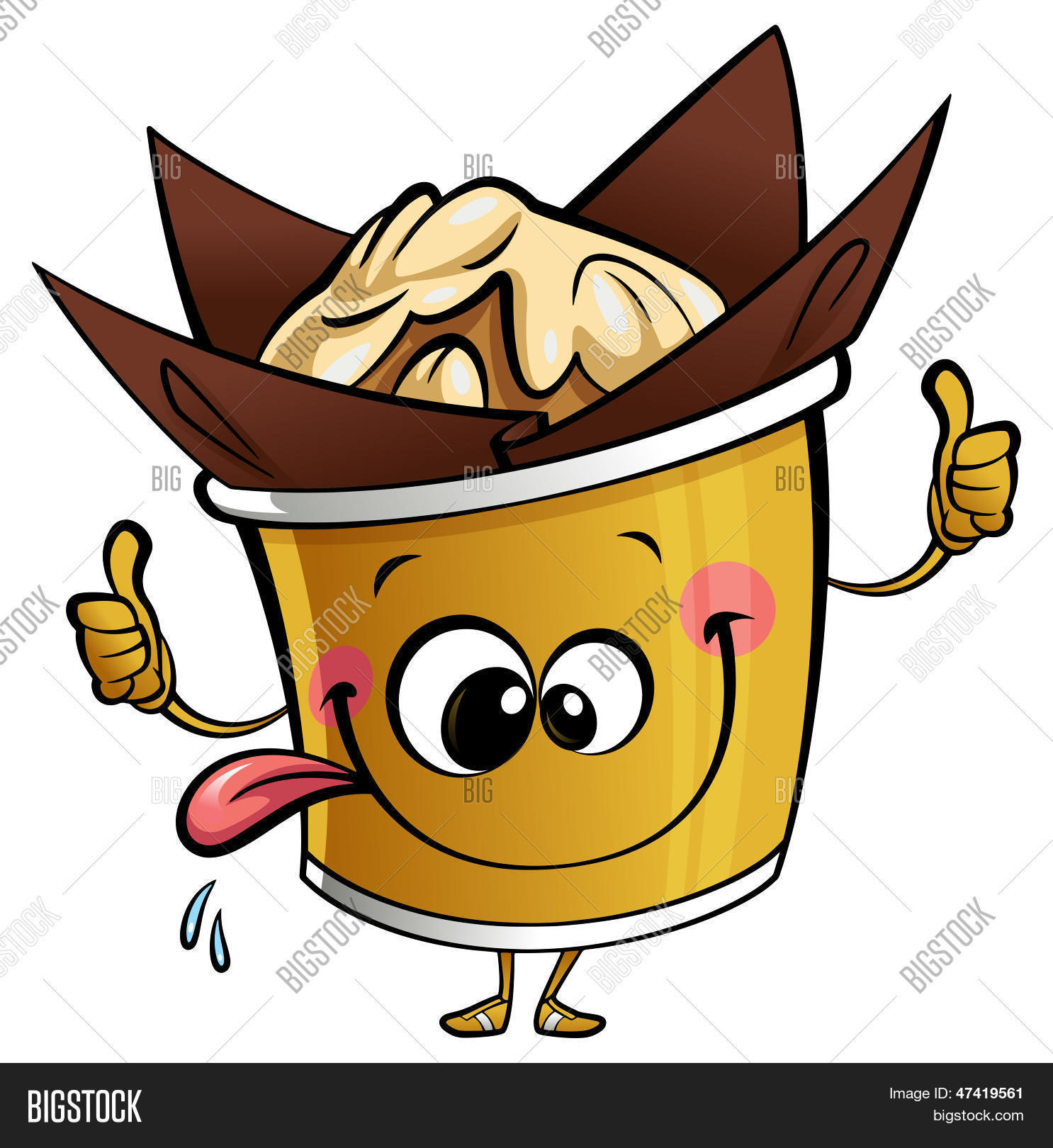 Larger preview vector clip art of a happy yellow coffee cup character - Happy Cartoon Cupcake Muffin Character Making A Perfect Gesture