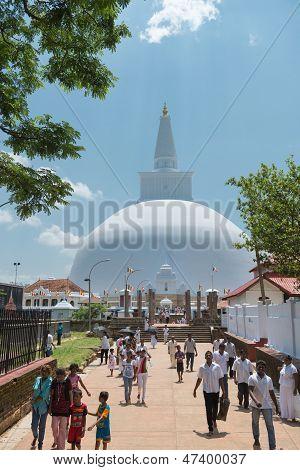 Pilgrims Near White Sacred Stupa, Anuradhapura, Sri Lanka