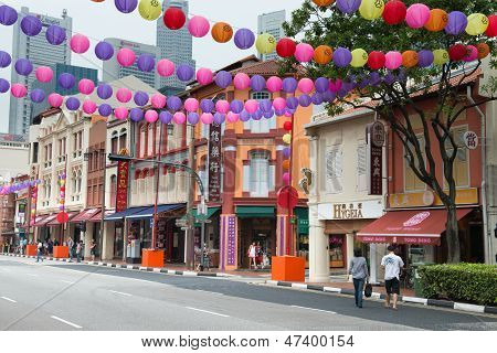 Decorated Chinatown Street In Singapore