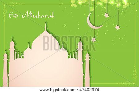 illustration of Eid Mubarak (Happy Eid) Background with paper Taj Mahal
