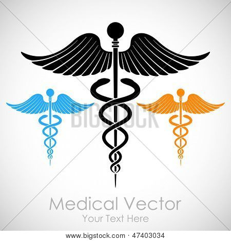 illustration of colorful medical sign Caduceus