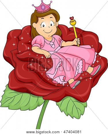 Illustration of a Little Kid Girl Princess with sitting on a Rose Throne