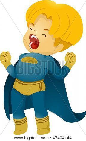 Illustration of Shouting Little Kid Boy Superhero