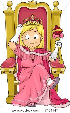 Illustration of a Little Kid Girl Princess Sitting on her Throne