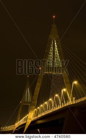 Brightly Lit Modern Bridge