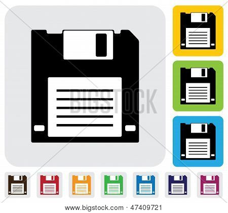 Floppy Disk For Saving Data Icon(symbol)- Simple Vector Graphic