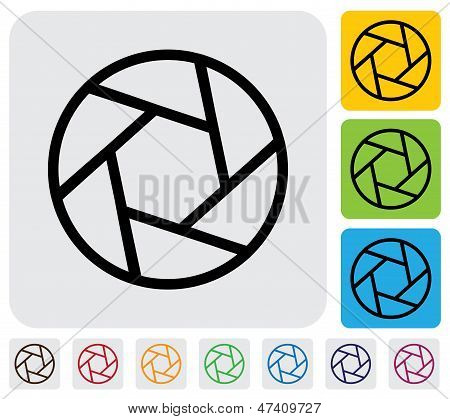 Camera Lens Shutter Blades Icon(symbol) Outline- Simple Vector Graphic