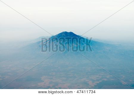 Volcano Top Under Sky, Bird's Eye View.