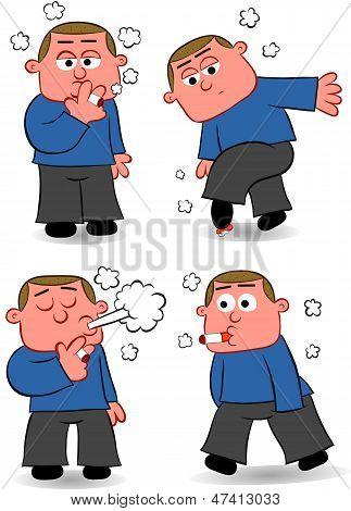 Smoking Man Cartoon Set