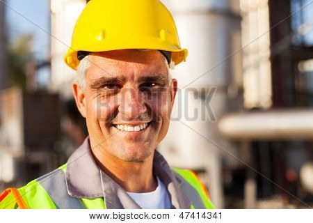senior oil and chemical worker closeup portrait