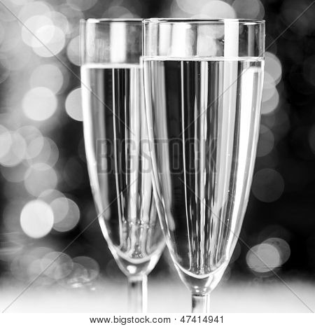 champagne at christmas party on blurred background