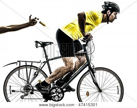 one caucasian man exercising doping sport concept    on white background