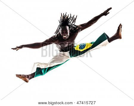 one brazilian brazilian  black man dancer dancing capoiera on white background