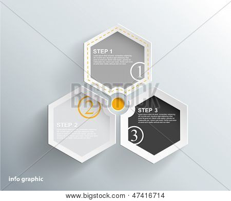 3 cards with numbers and place for your text.