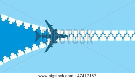 vector image of white silhouette of jet airplane opening zip, isolated on blue