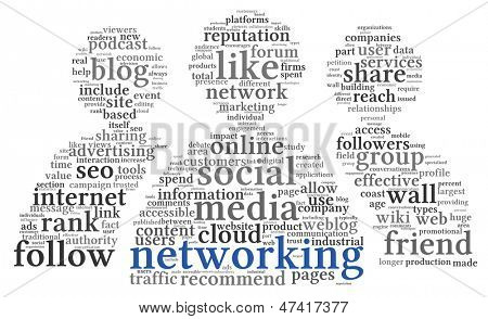 Social networking concept of people shape in word tag cloud on white background