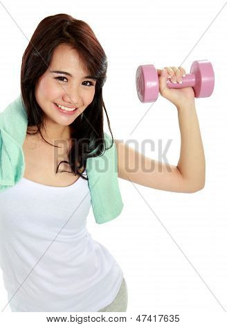 Fitness Woman With Free Weights