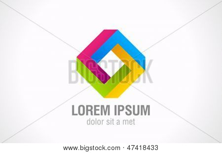Rhombus impossible figure vector logo template. Square abstract looped shape. Loop sign. Cycle icon