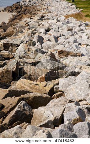 Grainite Stones On Seawall