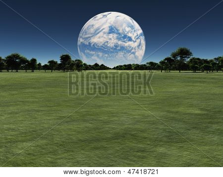 Alien world with another planet on horizon or earth with a terraformed moon