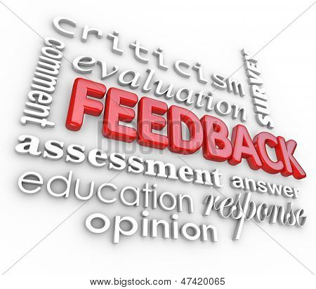 A 3d word collage focused on the word Feedback and other terms like assessment, evaluation, comment, response, criticism, survey and answer