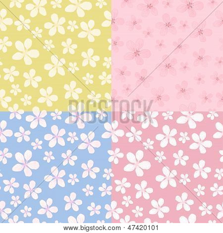 Set Of Seamless Blossom Background