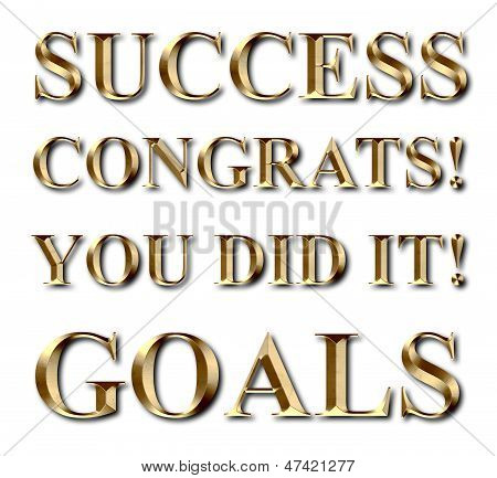 Success Goals Congrats Gold Text