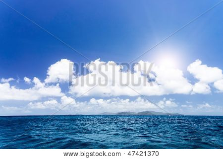 Agitated Blue Sea Near Seychelles Islandes.