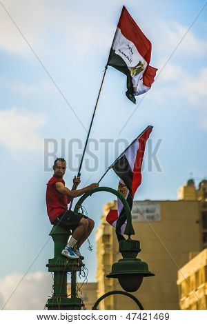 Man With Egyptian Flags