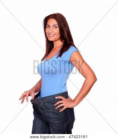 Gorgeous Senior Woman In Old Jeans Pant