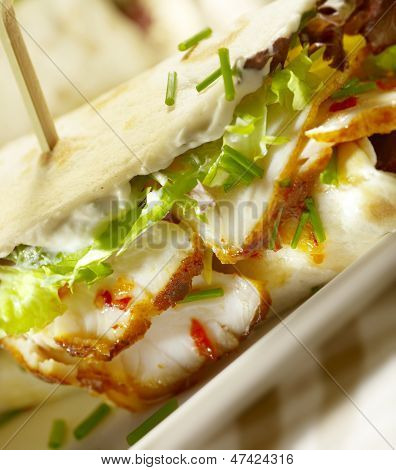 Wrap With Grilled Chicken And Sauce