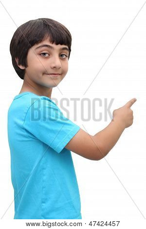 8 year old brown haired boy pointing isolated on a white background