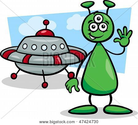 Alien With Ufo Cartoon Illustration