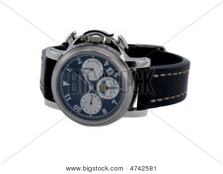 Rich Silver Chronograph Watch In White Background