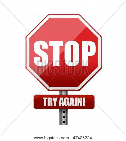 Stop Try Again Road Sign Illustration