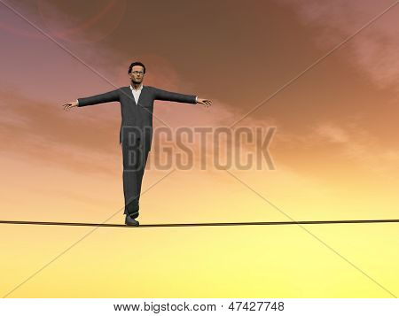 Conceptual concept of 3D businessman or man in crisis walking in balance on rope over sunset sky background