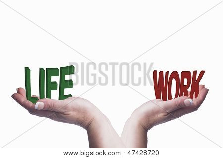 Woman's Hands Holding Work Life Text Conceptual Image