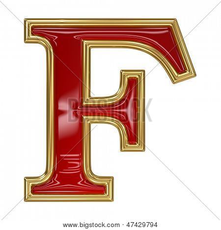 Ruby red with golden outline alphabet letter symbol - F