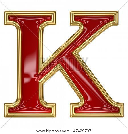Ruby red with golden outline alphabet letter symbol - K