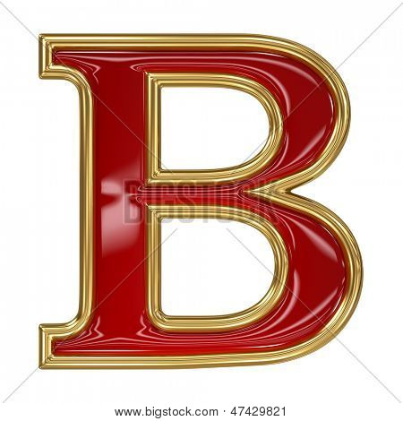 Ruby red with golden outline alphabet letter symbol - B