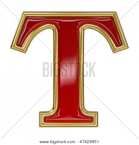 Ruby red with golden outline alphabet letter symbol - T