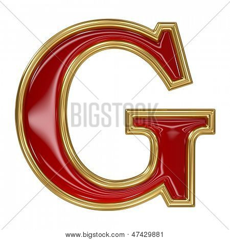 Ruby red with golden outline alphabet letter symbol - G