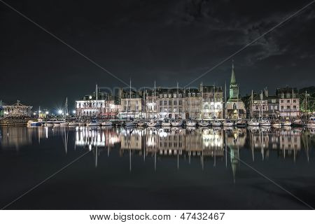 Honfleur Night. Skyline Port And Water Reflection. Normandy, France