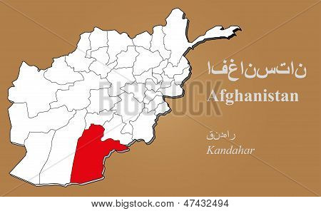 Afghanistan Kandahar Highlighted