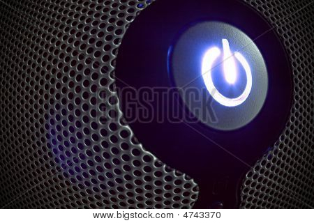 Power Button In Perforated Metal Blown Up